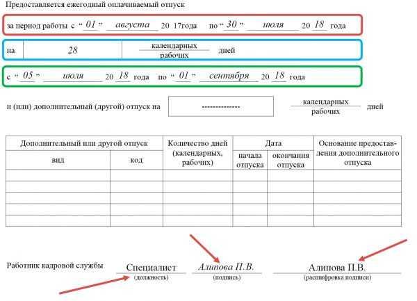 Первый раздел Формы Т-60 (данные о предоставленном отпуске и подпись кадровика)