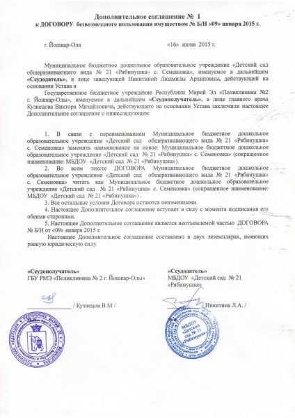 Дополнительное соглашение о внесении изменений