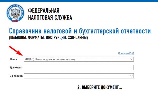 Скрин страницы «Справочник налоговой и бухгалтерской отчётности», первый шаг