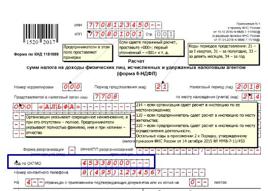 Верхняя часть Титульного листа с указанием кода ОКТМО