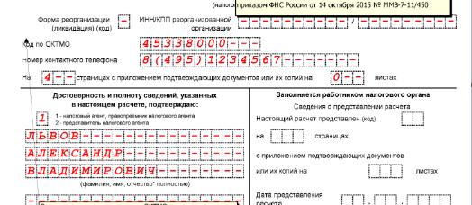 Нижняя часть Титульного листа, блок с подтверждением достоверности данных