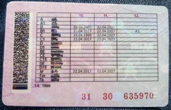 Обратная сторона водительского удостоверения