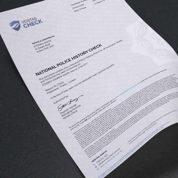 Сертификат из полиции