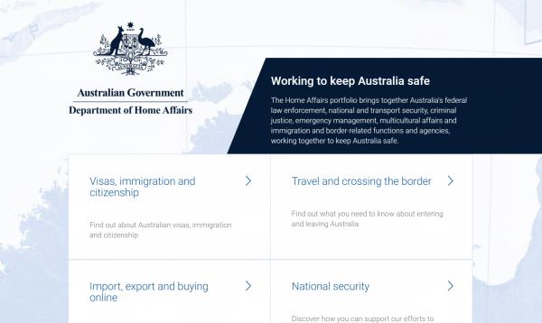 Сайт Департамента внутренних дел Австралии