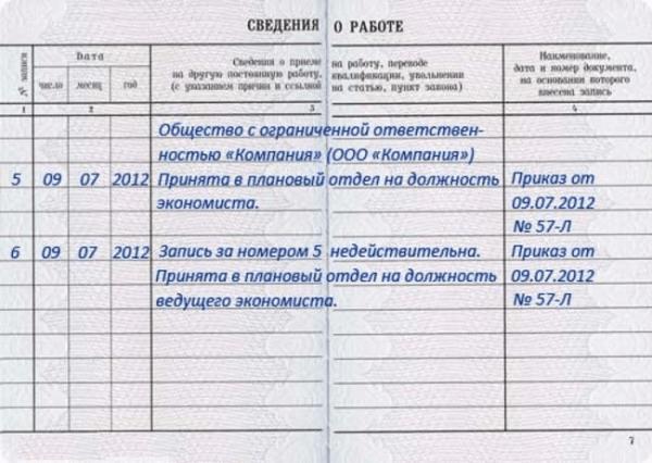 Образец внесения записи об ошибке при указании должности