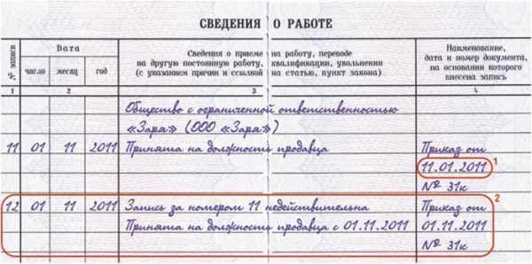 Образец внесения записи об ошибке при указании даты