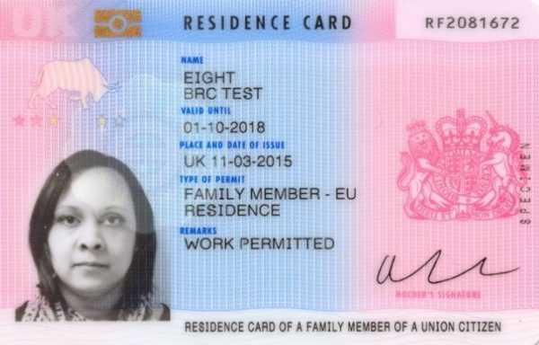 Карточка резидента Великобритании