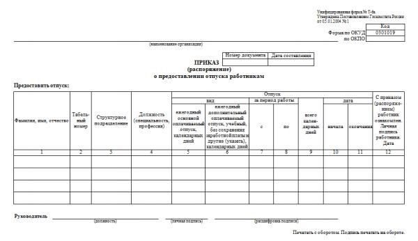 Приказ по форме Т-6а (шаблон)