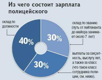 Диаграмма, иллюстрирующая, из чего складывается зарплата полицейского