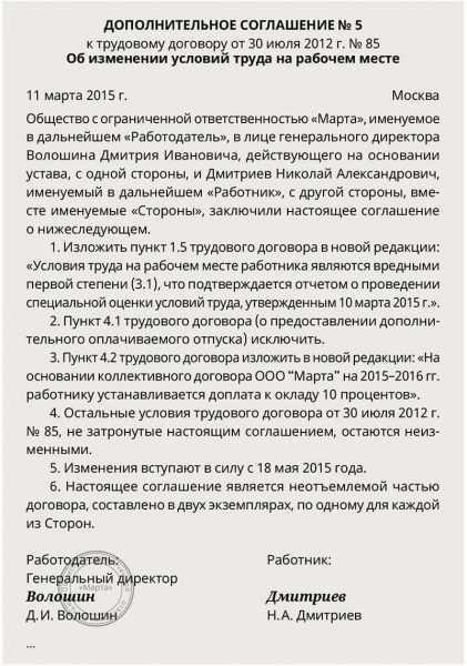 Образец дополнительного соглашения об изменении условий трудового договора