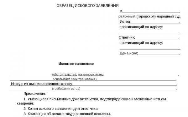 Образец бланка искового заявления