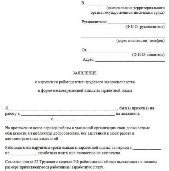 Образец бланка заявления в трудовую инспекцию о несвоевременной выплате зарплаты