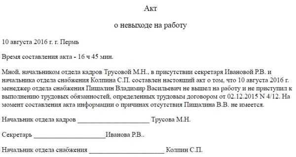 Акт о невыходе работника на работу (пример)