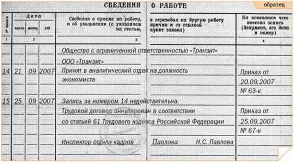 Пример внесения записи в трудовую книжку об аннулировании трудового договора