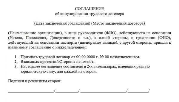 Образец соглашения об аннулировании трудового договора