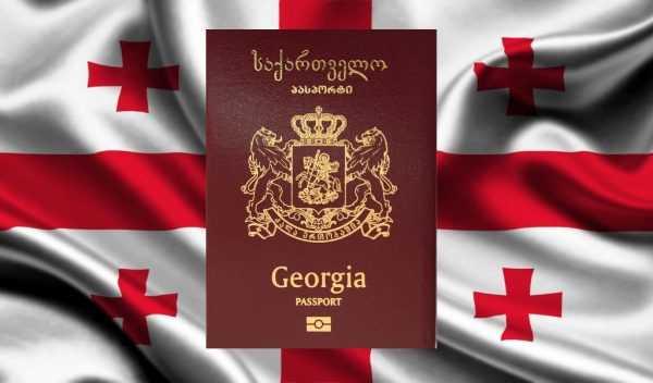 Грузинский паспорт на фоне флага