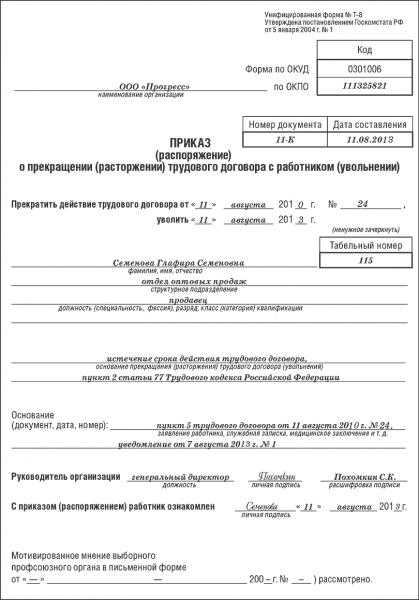 Образец приказа об увольнении по истечении срока действия договора
