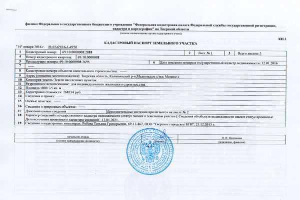 Кадастровый паспорт на ЗУ