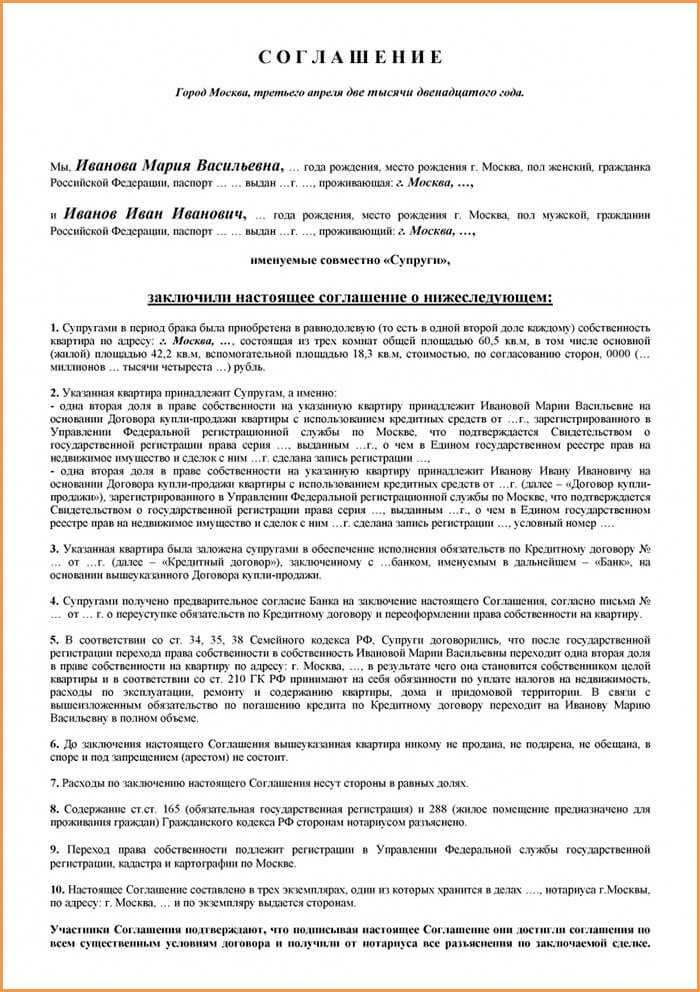 соглашение о разделе наследственного имущества без доплаты