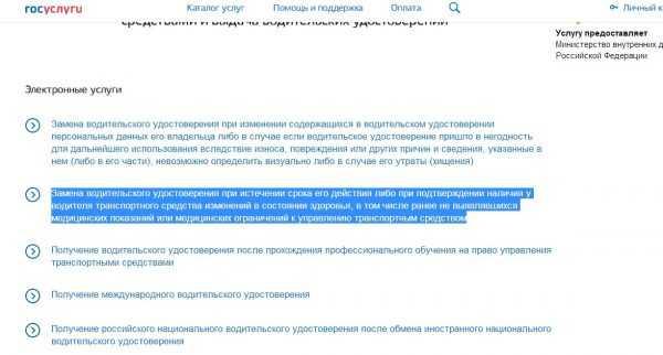 Скриншот сайта госуслуг (услуги ГИБДД)