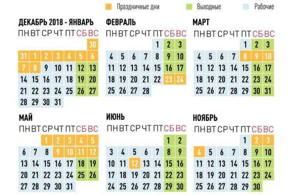 Календарь рабочих, выходных и праздничных дней в 2019 году