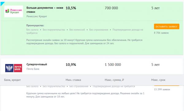Скриншот кредитного сервиса (мастер подбора кредитов)