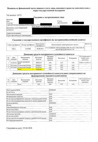 Выписка из ПФР о состоянии счёта по материнскому капиталу