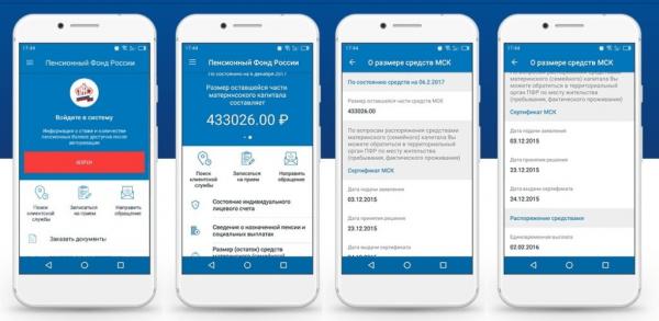 Скриншоты приложения ПФ — остаток по материнскому капиталу