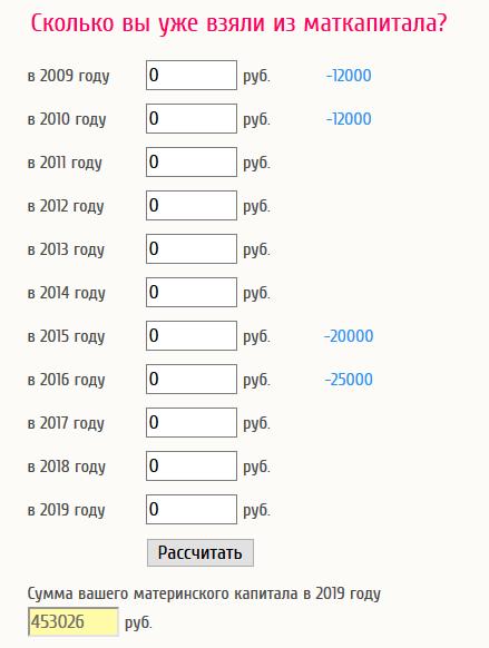 Скриншот калькулятора материнского капитала