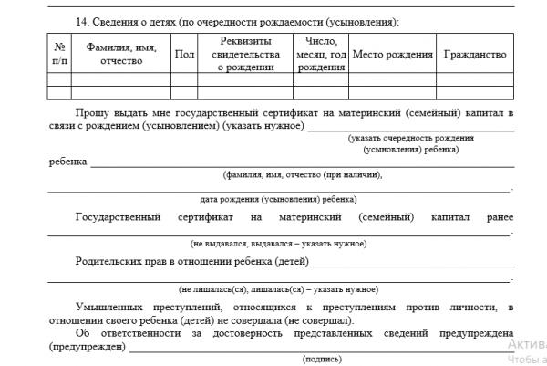 Скрин фрагмента заявления о выдаче сертификата на материнский капитал