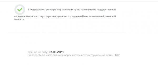 Скрин страницы с результатами запроса на Госуслугах