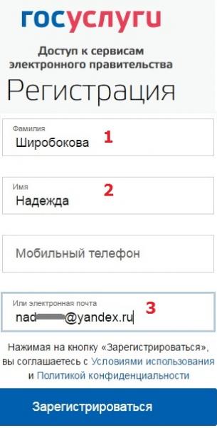 Регистрационная форма с сайта госуслуг